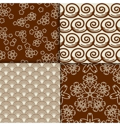 brown and white sakura flowers pattern set vector image