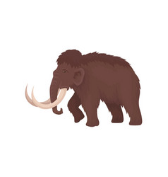 Brown mammoth with big tusks large extinct animal vector