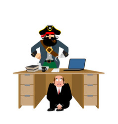 businessman scared under table of pirate to hide vector image