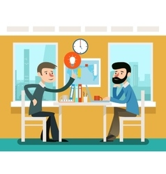 Businessmen discussing strategy sitting at office vector image vector image