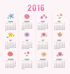 calendar 2016 flower cute cartoon vector image