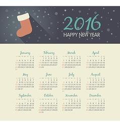 Calendar 2016 year with christmas sock vector