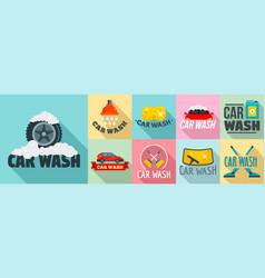 Car wash logo set flat style vector