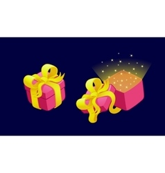 Cartoon gift boxes with bows and ribbons vector image