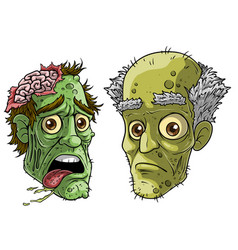 cartoon halloween green zombie monsters characters vector image