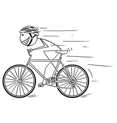cartoon of man with helmet riding fast on bicycle vector image
