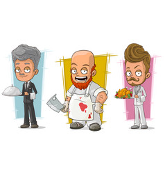 cartoon waiter and butcher character set vector image