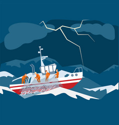 character fishing boat team vessel in vector image