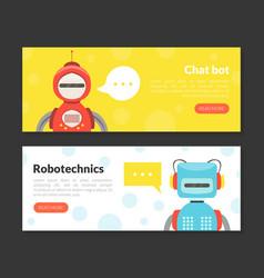 chat bot robotechnics landing page templates set vector image