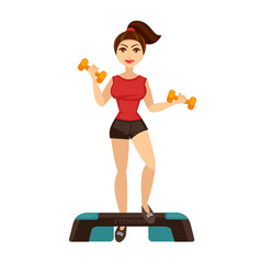 Cheerful woman doing fitness vector