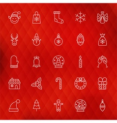 Christmas New Year Thin Line Icons Set vector image