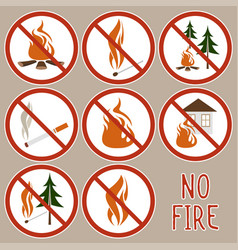 Collection no fire icons vector