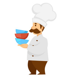 Cook in uniform and hat carrying bowls pile vector