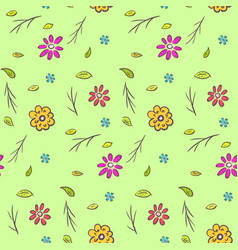 Cute colorful naive hand drawn floral pattern vector