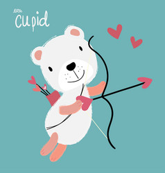 Cute cupid white fulffy bear flying with heart vector