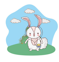 cute little rabbit with walkman in the park vector image