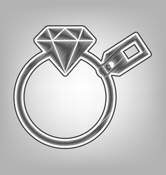 Diamond sign with tag pencil sketch vector
