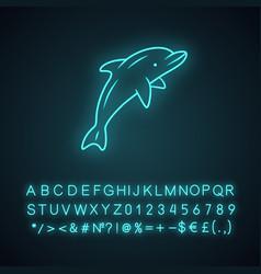 Dolphin neon light icon undersea world high vector