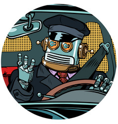 Driver robot drone pop art avatar character icon vector