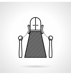 Entrance with carpet black line icon vector image