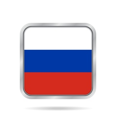Flag of Russia Shiny metallic gray square button vector image