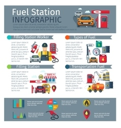 Gas Station Infographic Set vector image