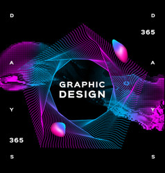glowing shapes liquid dynamic flow on black vector image