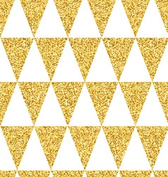 Gold glittering seamless pattern of triangles on vector image