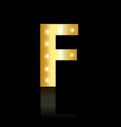 golden letter f shiny symbol vector image