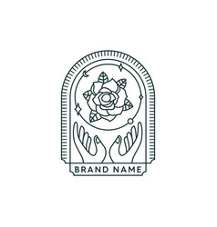 Hand and flower badge vector