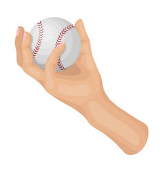 hand with ball baseball single icon in cartoon vector image