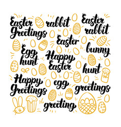 happy easter hand drawn lettering vector image