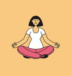 happy girl sitting in lotus pose yoga fitness vector image