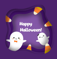 happy halloween banner with cute ghost characters vector image