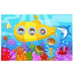 Happy kids in submarine on the sea vector