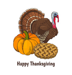 happy thanksgiving day poster and text vector image