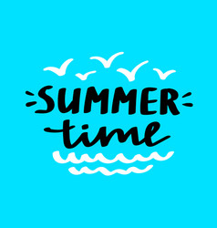 hello summer lettering card vector image