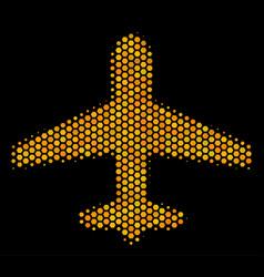 Hexagon halftone airplane icon vector