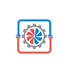 hvac plumbing cooling and heating logo design vect vector image