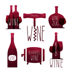 Icon set - wine from the different vector