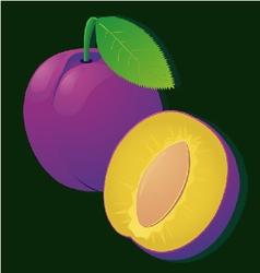 Image a ripe juicy plum slices on stripe vector