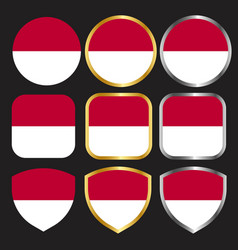Indonesian flag icon set with gold and silver vector