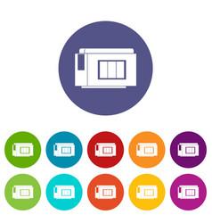 Inkjet printer cartridge set icons vector