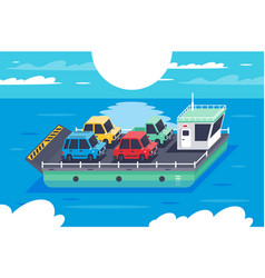 isometric 3d barge carrying colors classic vector image