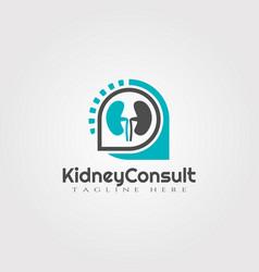 Kidney consultation logo designhealthcare vector