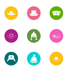 lid icons set flat style vector image