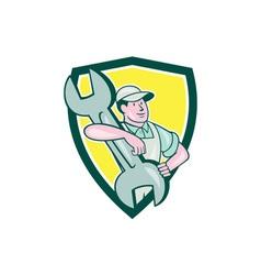 Mechanic Caryy Spanner Wrench Shield Cartoon vector