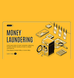 Money laundering isometric web banner vector
