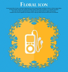 MP3 player headphones music Floral flat design on vector image