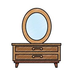Nightstand bedroom with mirror vector